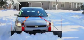 snowplow for car that straps on